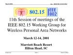 11th session of meetings of the ieee 802 15 working group for wireless personal area networks