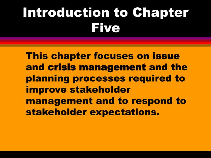 introduction to chapter five n.