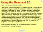 using the mean and sd