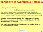 variability of averages totals 1