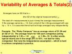variability of averages totals 2