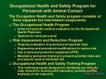 occupational health and safety program for personnel with animal contact