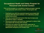 occupational health and safety program for personnel with animal contact1