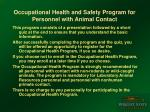 occupational health and safety program for personnel with animal contact2