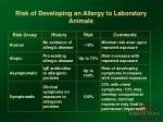 risk of developing an allergy to laboratory animals