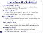 aggregate project plan classifications
