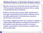 platform projects vs derivative projects cont