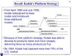 recall kodak s platform strategy