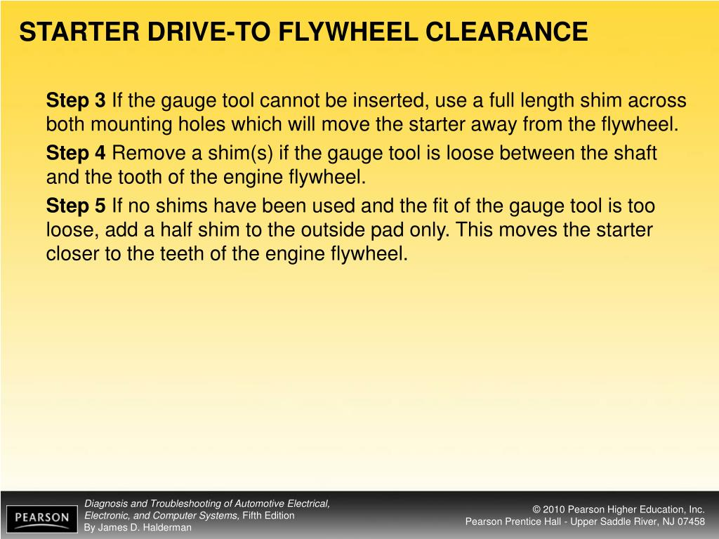 STARTER DRIVE-TO FLYWHEEL CLEARANCE