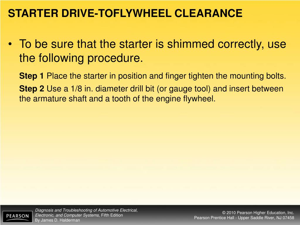 STARTER DRIVE-TOFLYWHEEL CLEARANCE