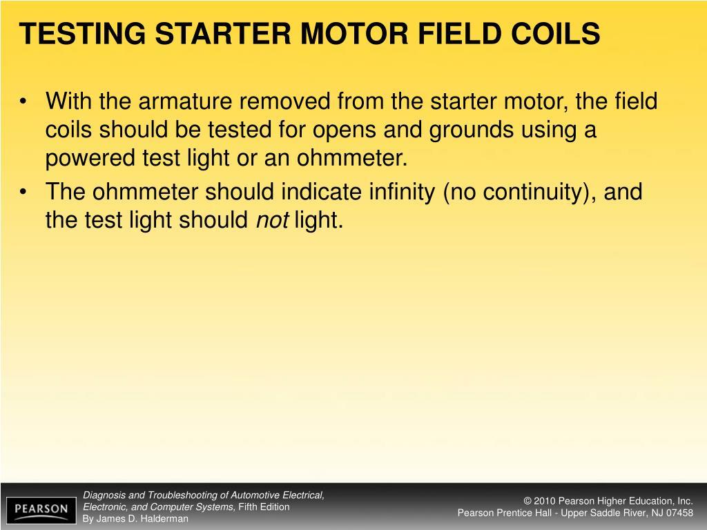 TESTING STARTER MOTOR FIELD COILS