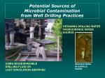 potential sources of microbial contamination from well drilling practices