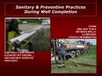 sanitary preventive practices during well completion