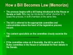 how a bill becomes law memorize