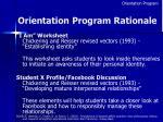 orientation program rationale