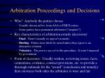 arbitration proceedings and decisions