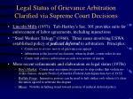 legal status of grievance arbitration clarified via supreme court decisions