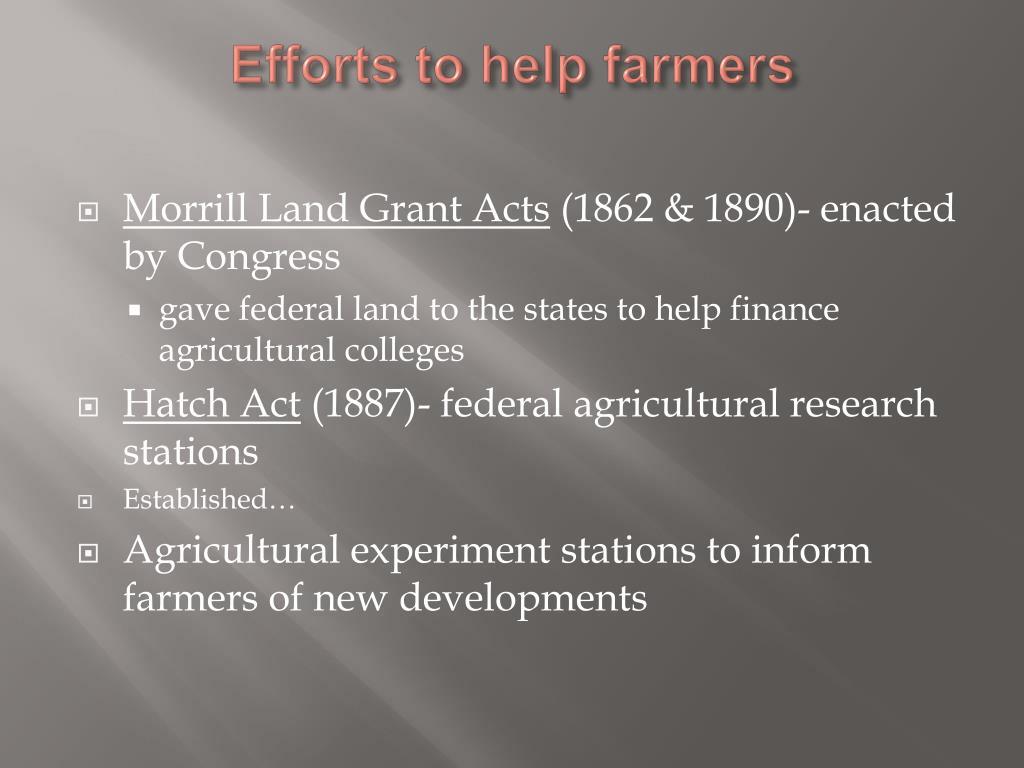 Efforts to help farmers