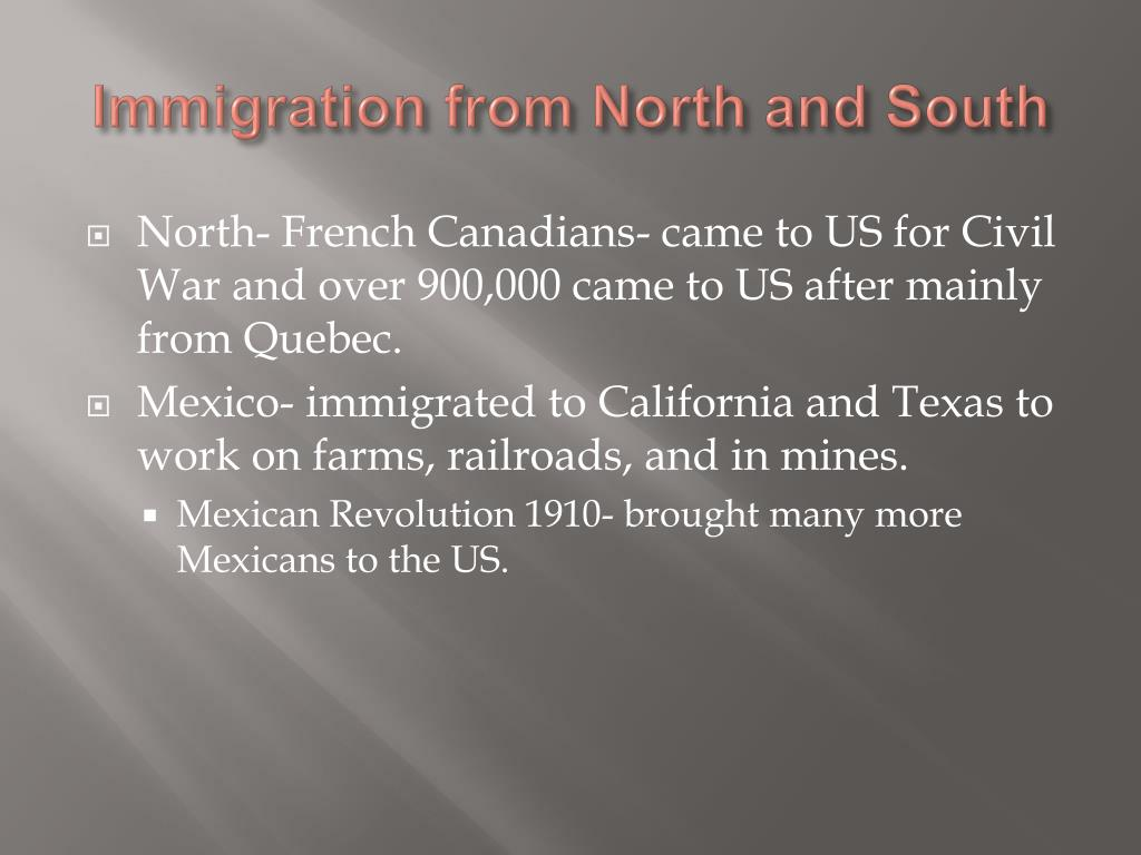 Immigration from North and South