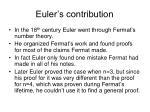 euler s contribution