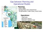 gap between planning and operational models
