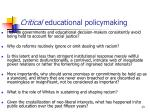 critical educational policymaking