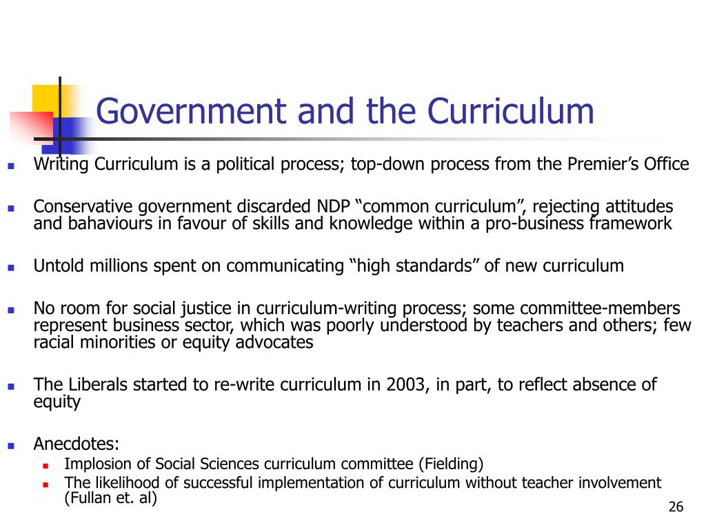 Government and the Curriculum