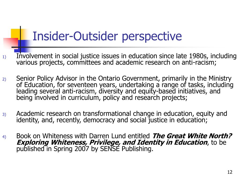 Insider-Outsider perspective
