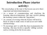 introduction phase starter activity
