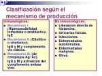 clasificaci n seg n el mecanismo de producci n