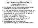 health seaking behaviour im migrationskontext