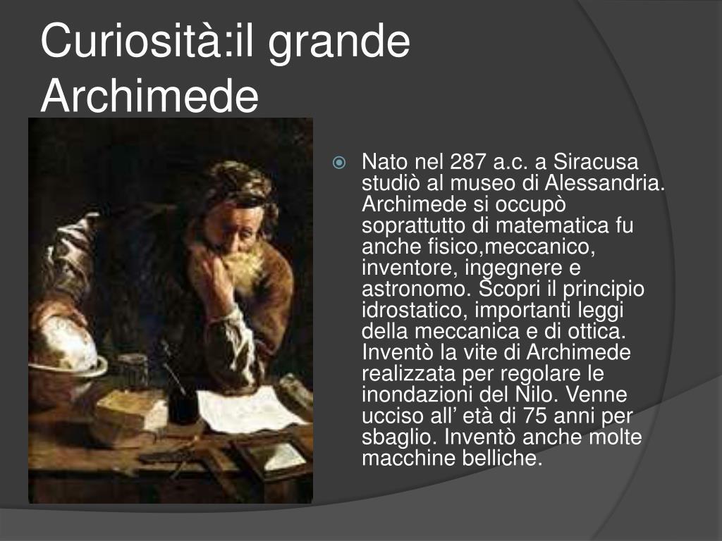 Curiosità:il grande Archimede