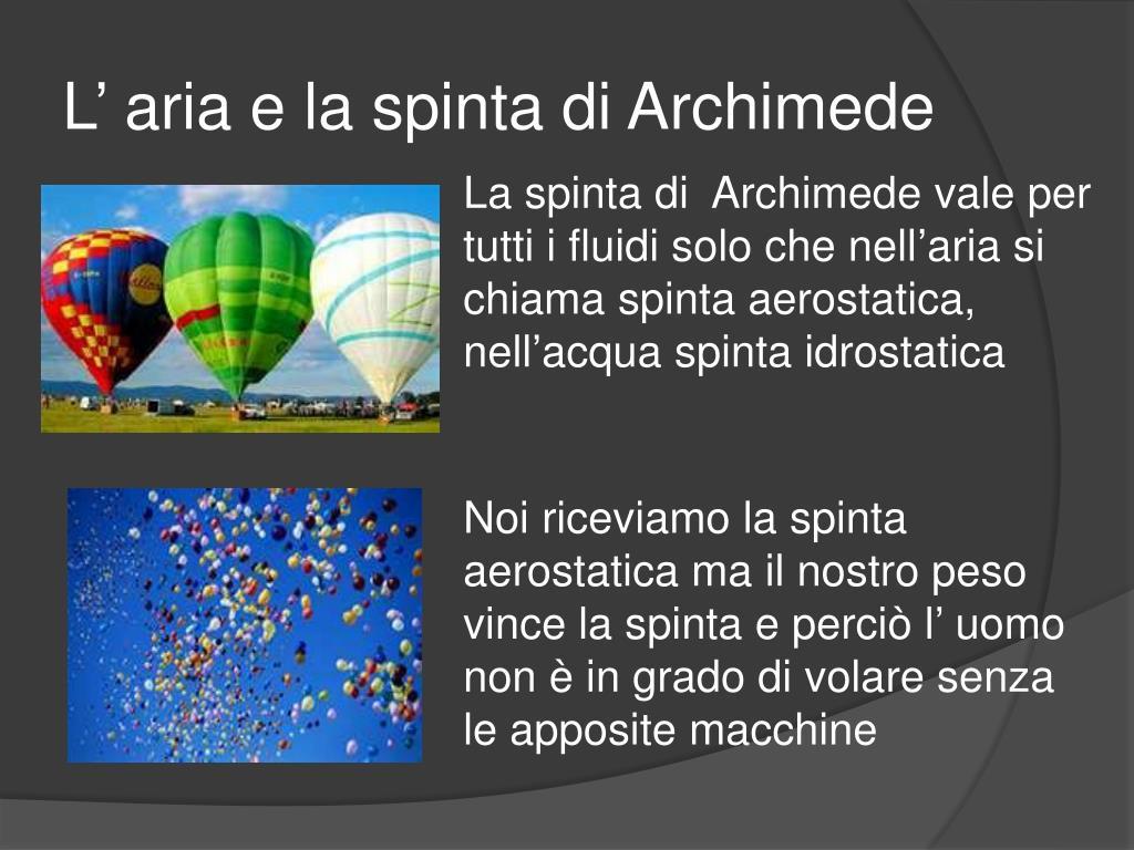 L' aria e la spinta di Archimede