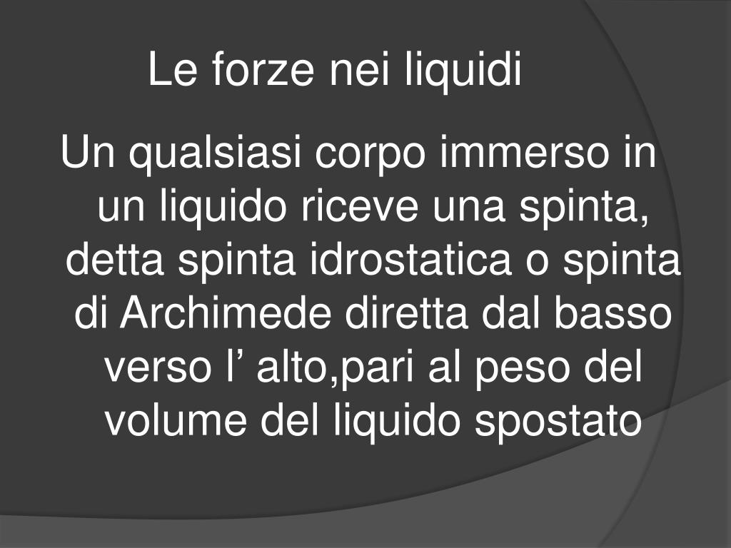 Le forze nei liquidi