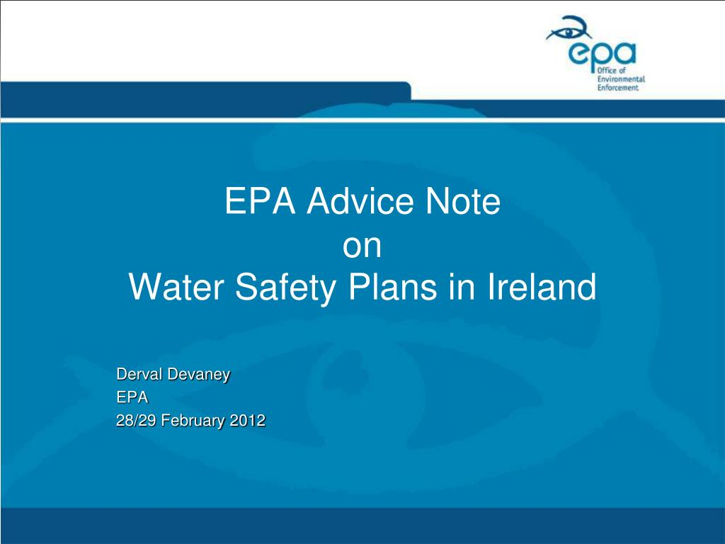 epa advice note on water safety plans in ireland l.