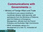 communications with governments 1