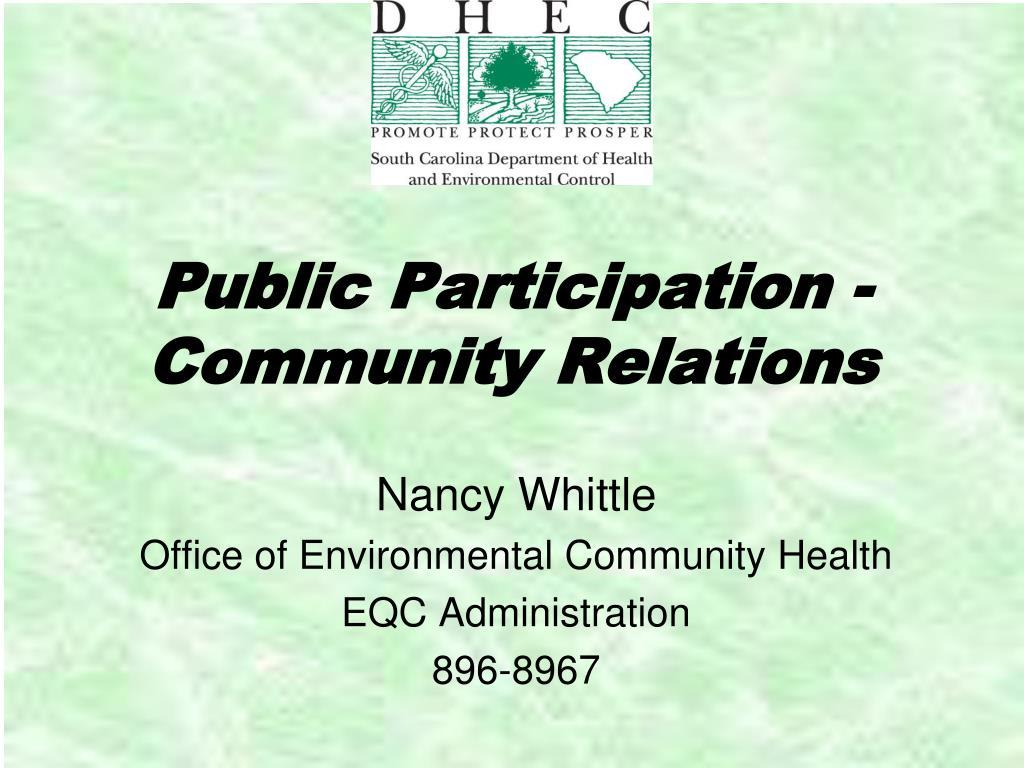 public participation community relations l.