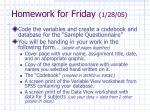 homework for friday 1 28 05