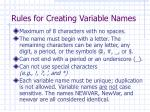 rules for creating variable names