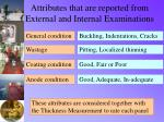 attributes that are reported from external and internal examinations