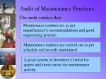 audit of maintenance practices