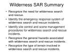 wilderness sar summary