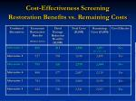 cost effectiveness screening restoration benefits vs remaining costs