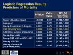 logistic regression results predictors of mortality