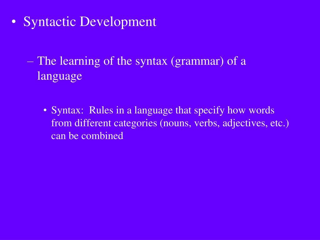 Syntactic Development