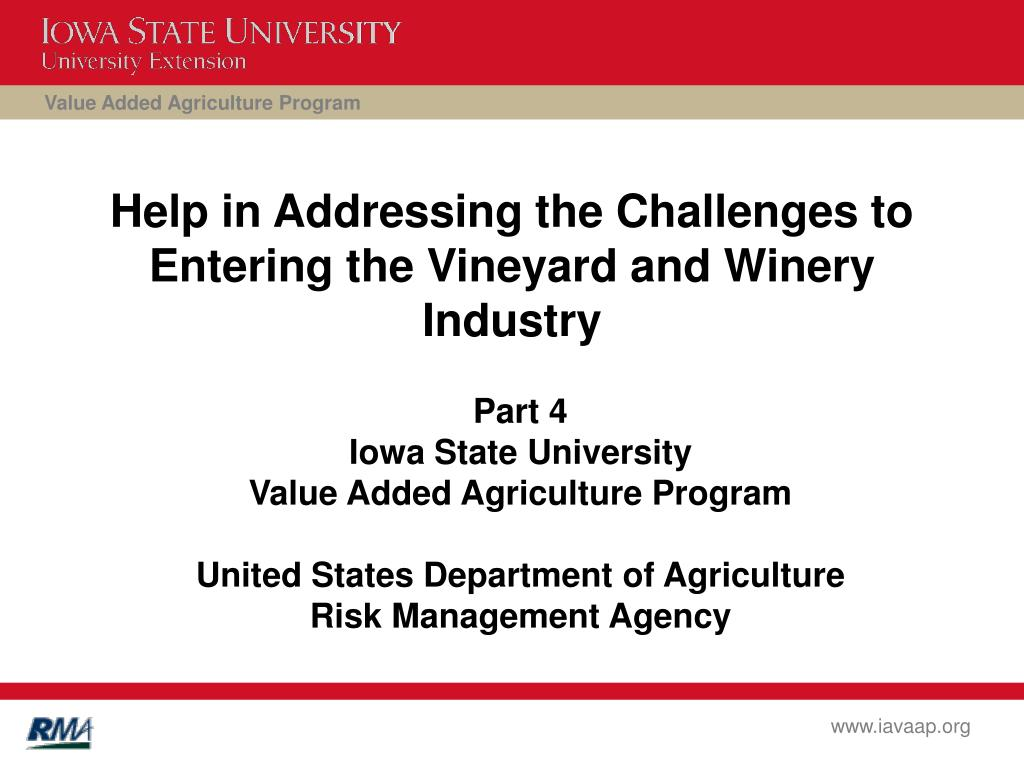 help in addressing the challenges to entering the vineyard and winery industry l.