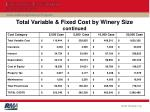 total variable fixed cost by winery size continued