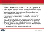 winery investment and cost of operation