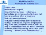 ghg redcution maximise the fuel efficiency