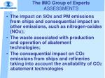 the imo group of experts assessments